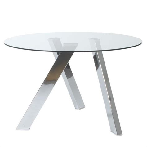 Clear Glass Table L Eurostyle Fridrika Dining Table In Clear Glass And Steel 24216a 24216g Kit