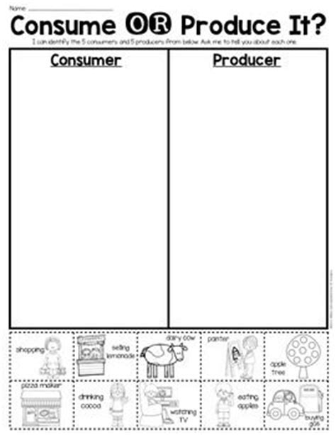 economics worksheets for 2nd grade consumer or producer sort sheet economics grade
