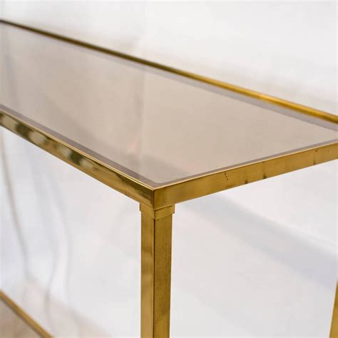 Brass Console Table Brass Console Table With Smoked Glass At 1stdibs
