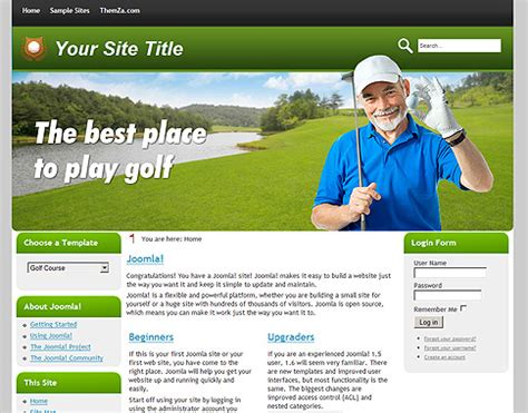 Golf Course Free Joomla 1 6 Template From Themza Golf Website Template Free