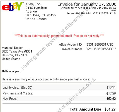 ebay invoice example letter format mail