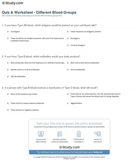 Blood Types And Transfusions Worksheet by Quiz Worksheet Different Blood Groups Study