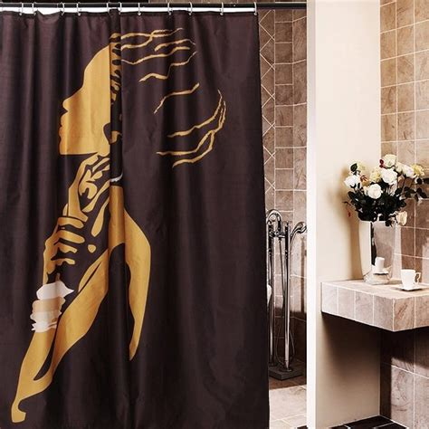 shower curtains for women 66x72 inch african woman pattern cartoon waterproof