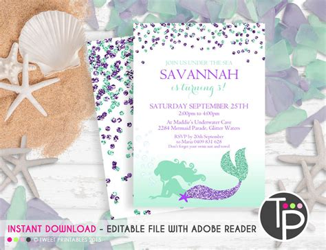mermaid invitation instant download mermaid invitations