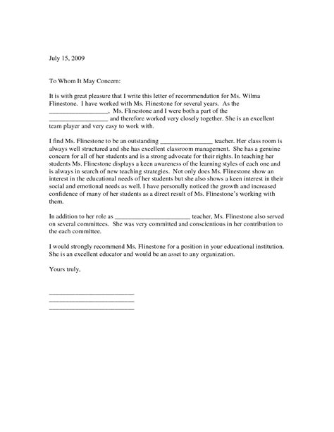 Recommendation Letter For Student In Education Letter Of Recommendation For Teaching Position Letter Of Recommendation For