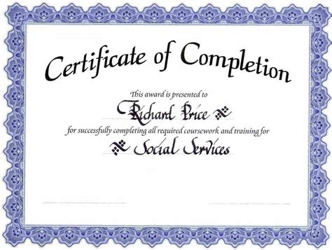 kb free microsoft word certificate of completion template