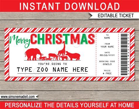 printable zoo christmas gift  wildlife park  animal safari