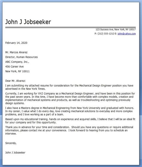 Layout Engineer Cover Letter by Cover Letter For Mechanical Design Engineer 8584