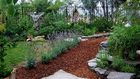 using cedar mulch in vegetable garden bark and lavender garden path