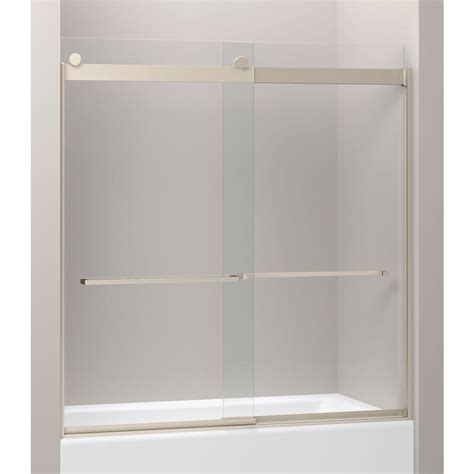 Shower Doors Kohler Kohler Levity 28 1 8 In X 62 In Frameless Sliding Shower Door In Nickel With Handle K 706207 L