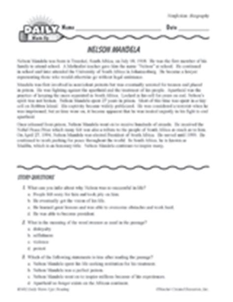 nelson mandela biography for grade 4 nelson mandela biography printable reading warm up for