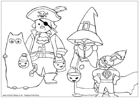 halloween coloring pages activity village dressed up for halloween colouring
