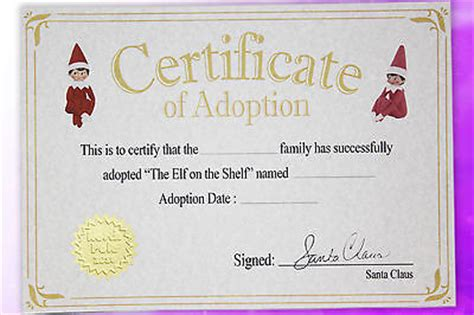 printable elf on the shelf certificate elf adoption certificate elf on the shelf xmas elf 163 2
