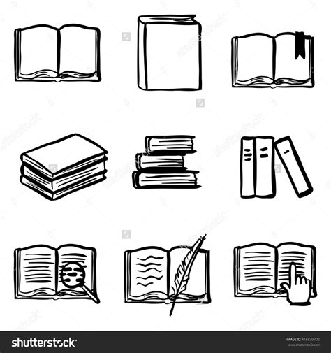 doodle book stock vector vector doodle book icon set open book closed