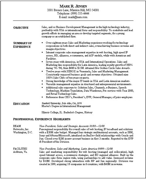 awesome resume sles sle resume for sales and marketing position resume ideas