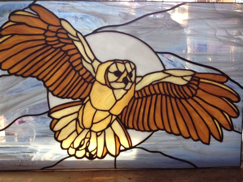 stained glass owl l stained glass barn owl framed panel window only one