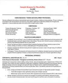 Sle Resume For Hr Manager sle resume for human resources manager resume sle
