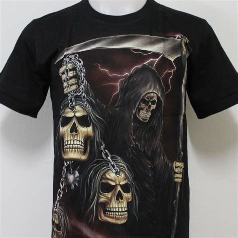 Dotted Skull Glow In The Size Xl grim reaper skull glow in the rock eagle t shirt g56 size s m l xl 2xl ebay
