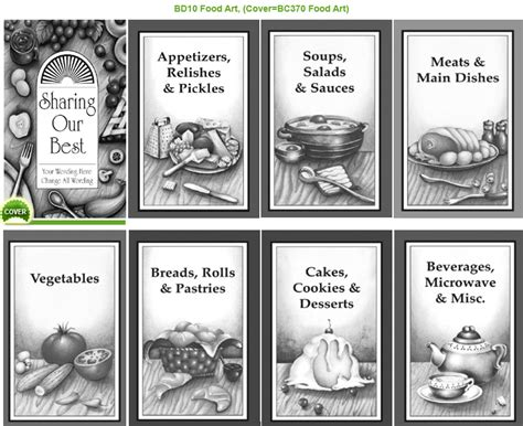 cookbook section titles black white dividers fundcraft publishing
