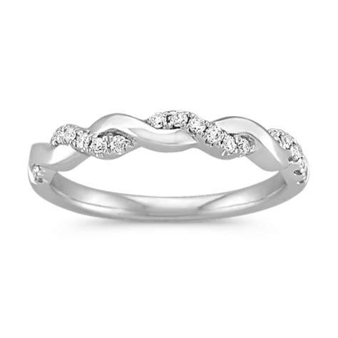 interwoven diamond and 14k white gold infinity wedding