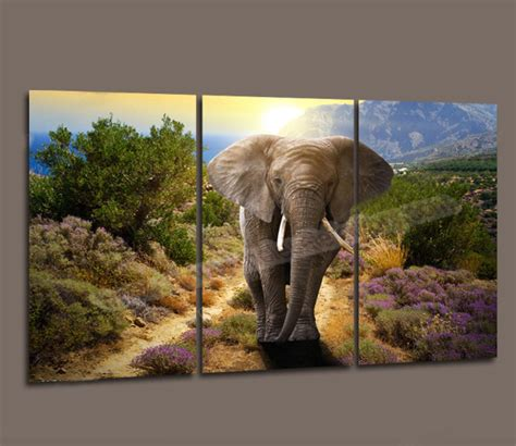 oil painting on 3 piece cheap modern paintings for living wholesale 3 piece canvas art modern oil elephant painting