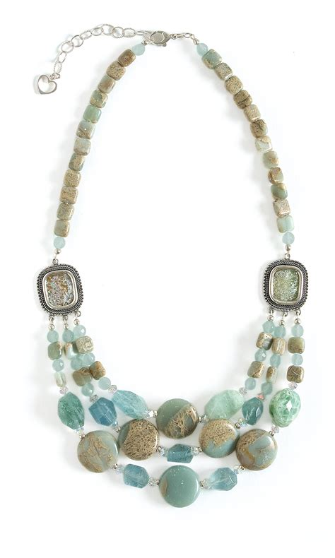 Gemstone Jewelry Design Ideas by Jewelry Design Strand Necklace With Aquamarine Chalcedony And Jasper Gemstone