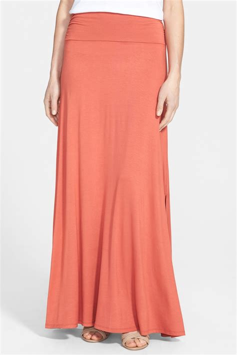 bobeau ruched waist side slit maxi skirt nordstrom rack
