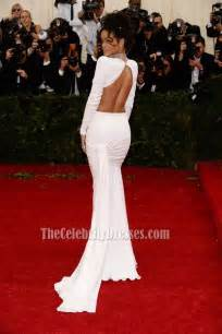 rihanna white evening dress 2014 met gala red carpet