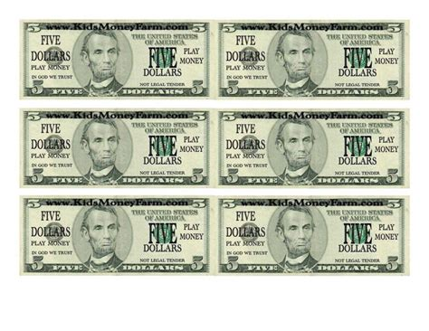 printable fake school money play dollar bill template and template for fake money