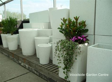 White Garden Planters by Large White Terrazzo Tapered Pot Planters Woodside