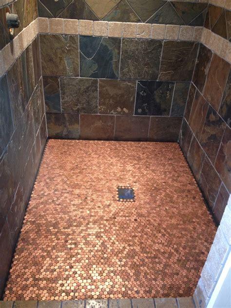 bathroom floor pennies a building we shall go heads up penny floor do it