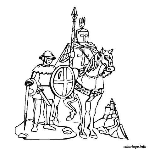 coloriage chevalier table ronde dessin