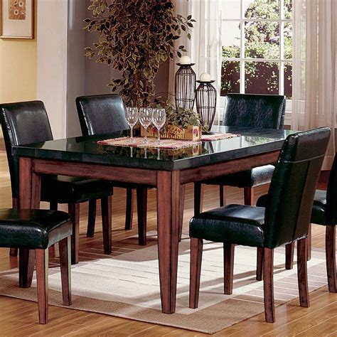 Black Granite Top Dining Table Steve Silver Montibello Granite Top Rectangular Table Dining Tables At Hayneedle