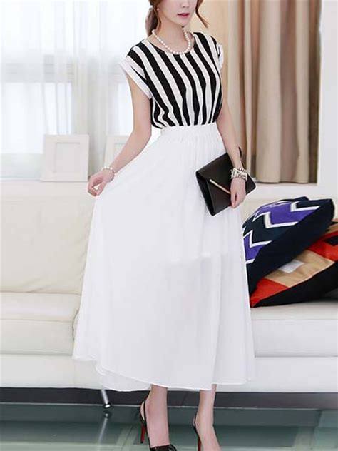 Formal Korea Dress Ds4194 Black black and white chiffon maxi korean dress for casual