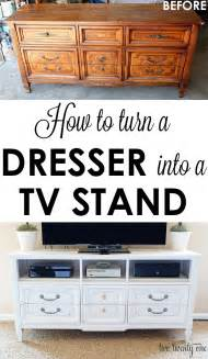 how to turn a dresser into a tv stand diy two twenty one