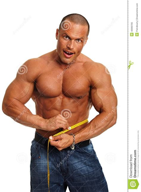 muscular man 31401 man shows a meter stock photo image 40060705