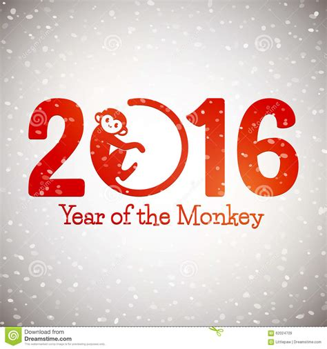 new year of monkey new year postcard with monkey symbol on snow