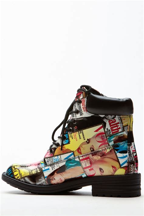 colored magazine collage patent combat boots cicihot