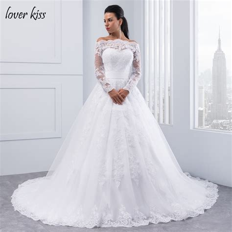 boat neck ball gown wedding dress lover kiss long sleeve wedding dresses boat neck ball gown