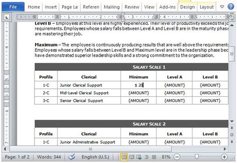 pay structure template salary comparison form template for word