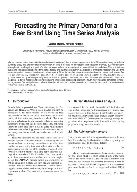 research paper on time series analysis forecasting the primary demand for a pdf