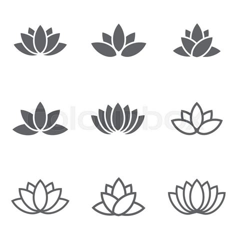 flower tattoo vector free vector black lotus icons set on white background lotus