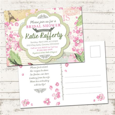 vintage shabby chic bridal shower invitations bridal shower invitation shabby chic vintage inspired pinks and green floral