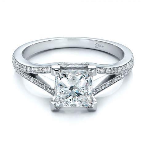 custom princess cut and split shank engagement