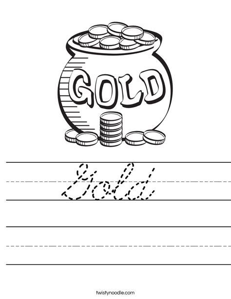 Gold Worksheets by Gold Worksheet Cursive Twisty Noodle