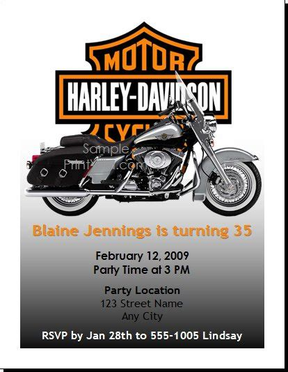 Free Printable Motorcycle Invitations Harley Birthday Party Invitation Things Pinterest Motorcycle Birthday Invitation Templates