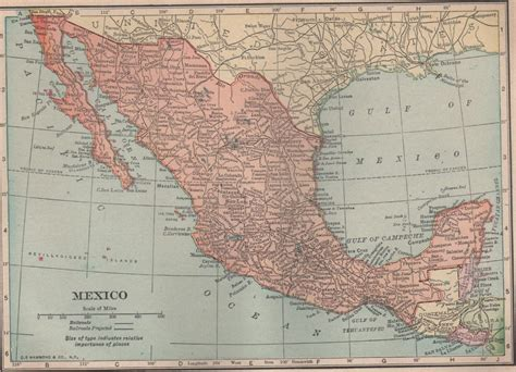 atlas map of mexico map of mexico color c s hammond co atlas c 1910