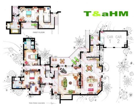 list of home design tv shows floor plans two and a half men apartments