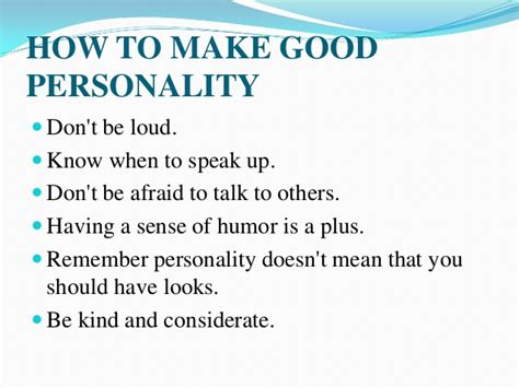 how to have great personality development
