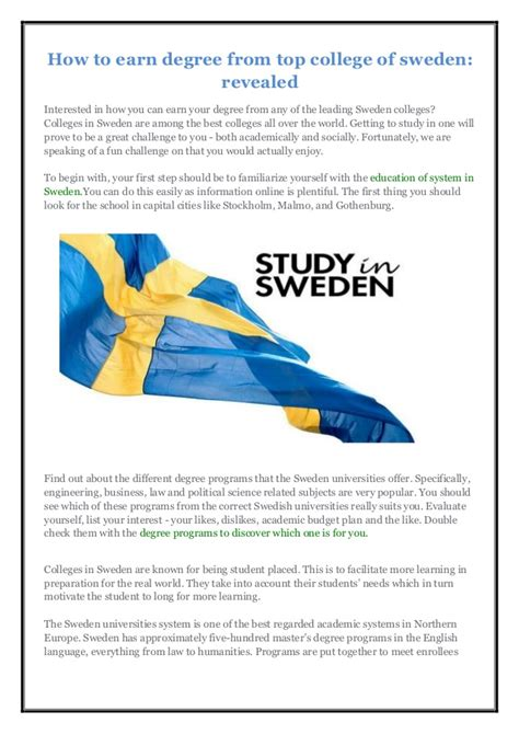 Stockholm Mba Program by How To Earn Degree From Top College Of Sweden